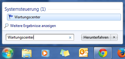 Wartungscenter - Windows 7